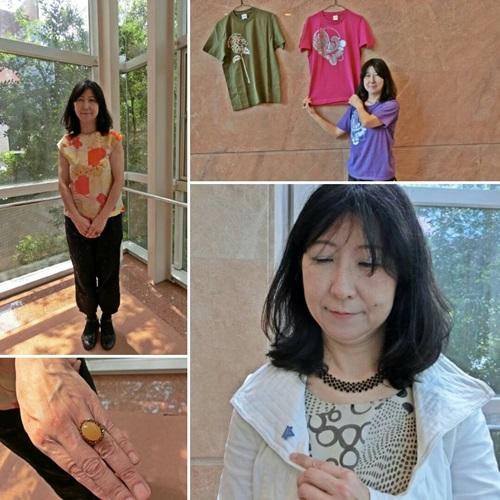 左上:トップスは着物のリメイク品。京都YWCAのバザーで購入。 右上:自立援助ホームの利用者がデザインしたDazzle Tシャツ(¥2,500)と一緒に。 右下:胸元に着けているのは、YWCAバッチ。大阪YWCAがデザイン。