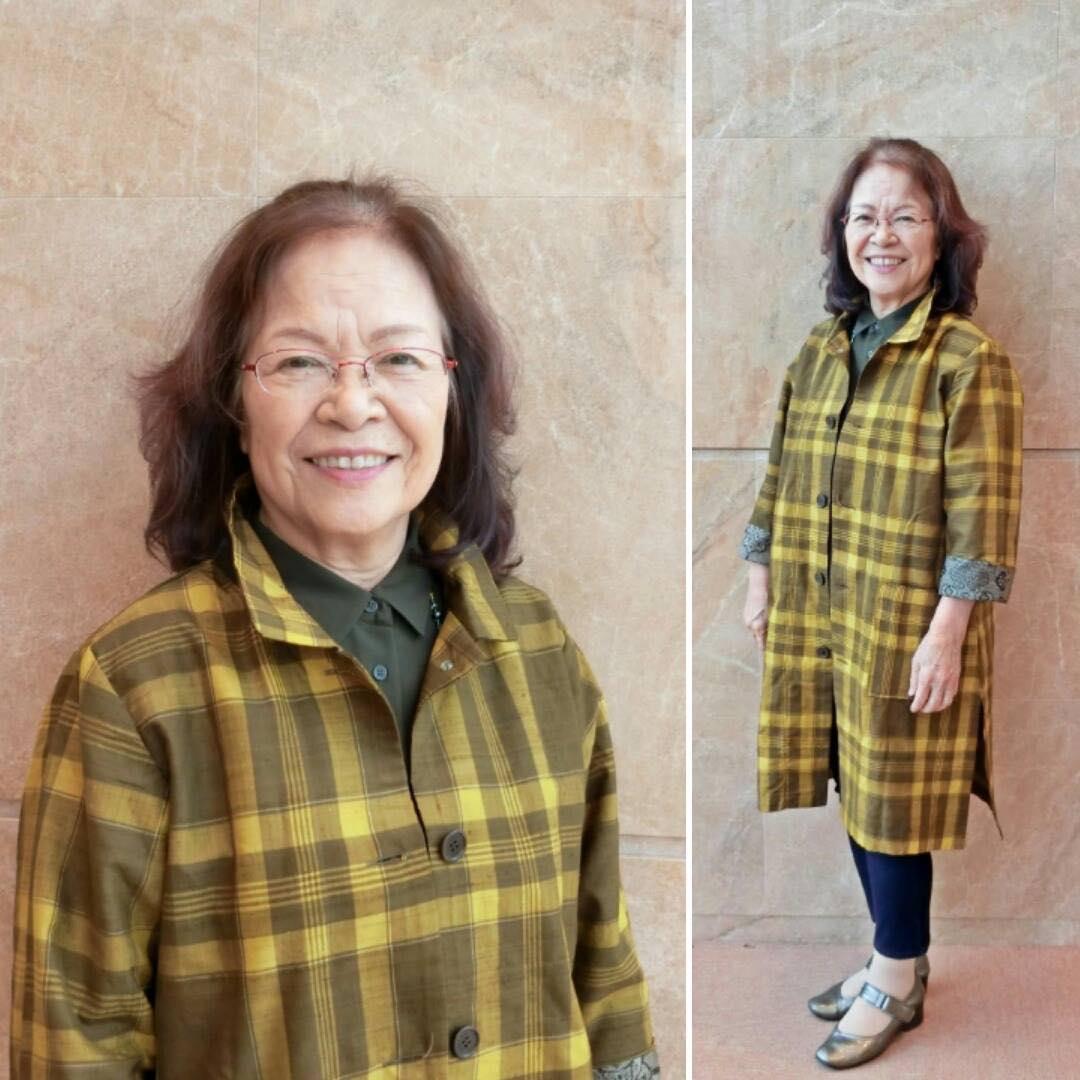 ジャケットは大阪YWCAバザーで購入。黄八丈という草木染の絹織物で作られた着物のリメイク品。